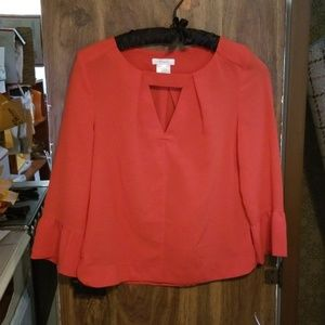 Esley, orange, dress blouse, fall, long sleeve, S